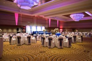 Kalamazoo Radisson Arcadia Ballroom Wedding Setup Purple